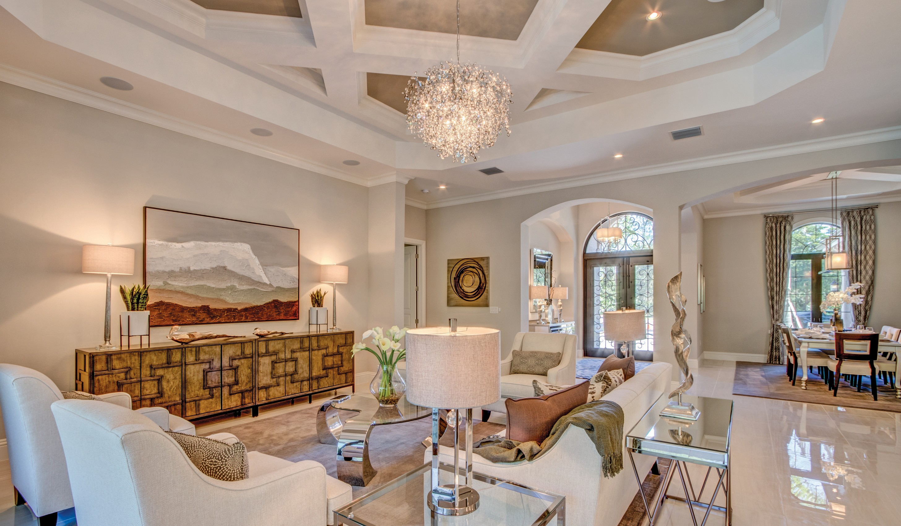Top Emerald Homes New Ventalo Model Features An Inviting Great Room With Intricate Ceiling
