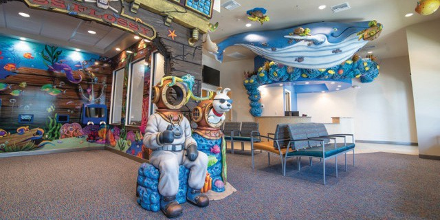 An underwater shipwreck in the lobby greets patients and visitors to the new Pediatric Dentistry of Florida office in Naples. COURTESY PHOTO