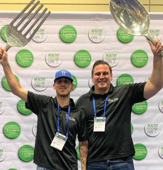Two Guys Kitchen and Catering's Larry Falisi, left, and Peter Falisi plan to launch The Hangout by Two Guys in March. COURTESY OF TWO GUYS