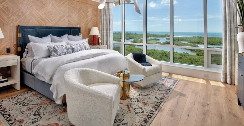 Every master bedroom at Kalea Bay offers views towards the Gulf of Mexico.