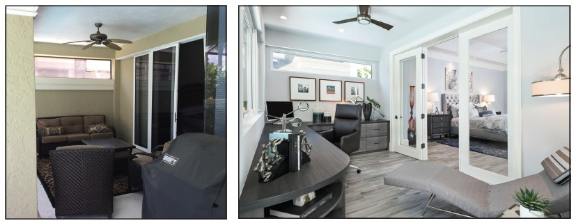 A rarely used sunporch off the master bedroom was turned into a beautiful and functional work space in this Bonita Bay home. Sherri DuPont and Amy Coslet of Collins Dupont Design Group worked on the project together. AMBER FREDERIKSEN / COURTESY PHOTO