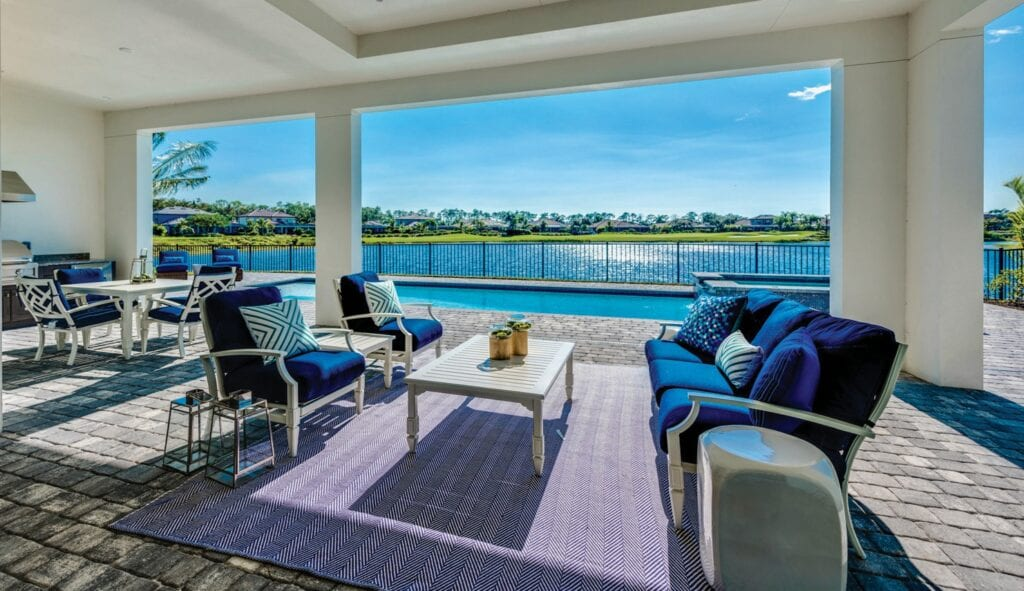 Below: The homes at Peninsula Treviso Bay were designed to enjoy the outdoor lifestyle.