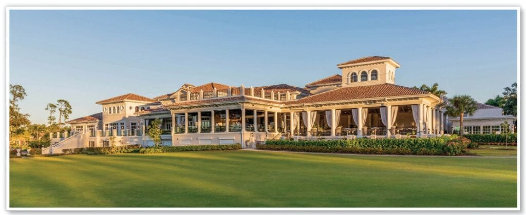 Mediterra offers an expansive Clubhouse where members gather for cocktails and conversation indoors or outdoors along the dedicated fire pit terrace overlooking pristine golf views.