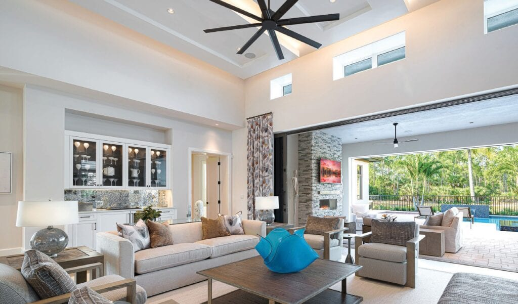With lake views and 4,670 square feet of living space, the available Wellington model illustrates London Bay Homes' clean-lined, coastal-inspired architecture and timeless floor plans in Mediterra.