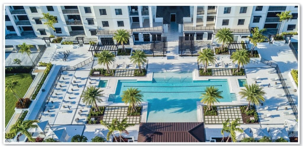 Eleven Eleven Central's completed amenities include a 60,000 square foot courtyard amenity deck features a 3,200 square foot resort-style pool with a beach entry and 90-foot lap lanes