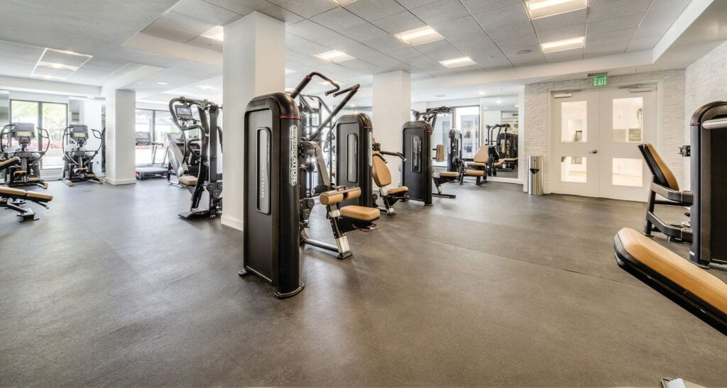 Eleven Eleven Central's amenities include a fitness center measuring approximately 2,500-square feet that features a stretching and functional movement area, a comprehensive array of state-of-the-art exercise equipment, massage rooms, and rest rooms.
