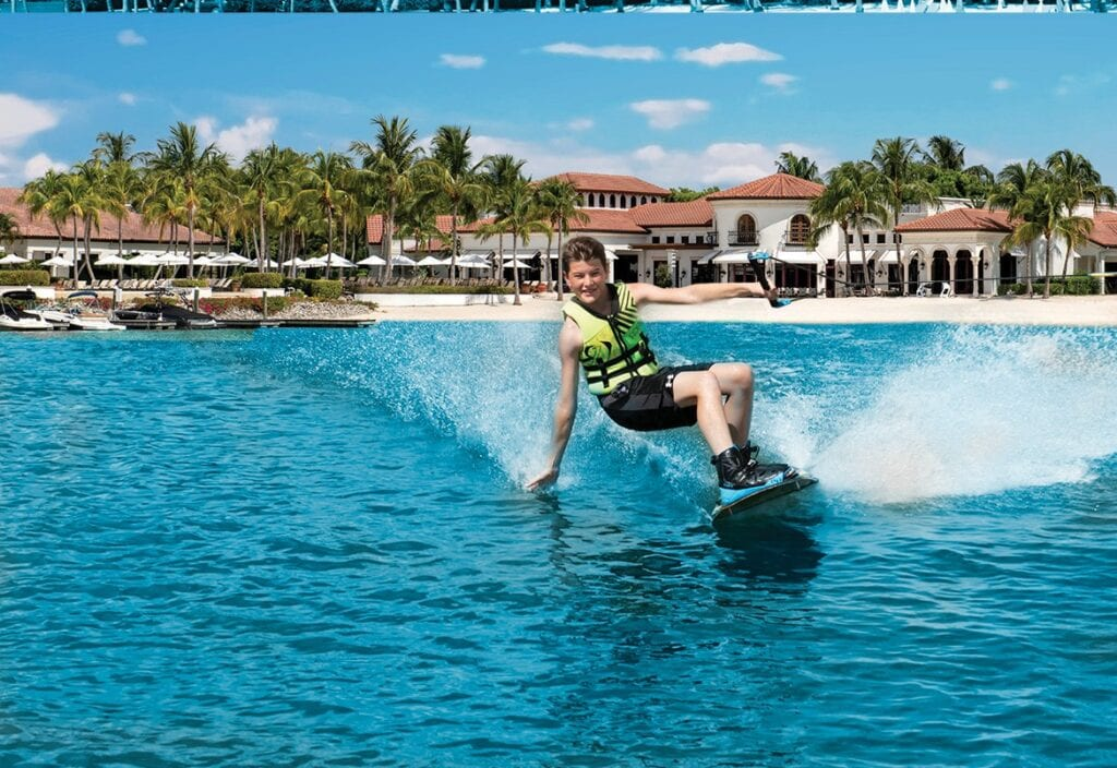 Wakeboarding on the 700-acre freshwater lake
