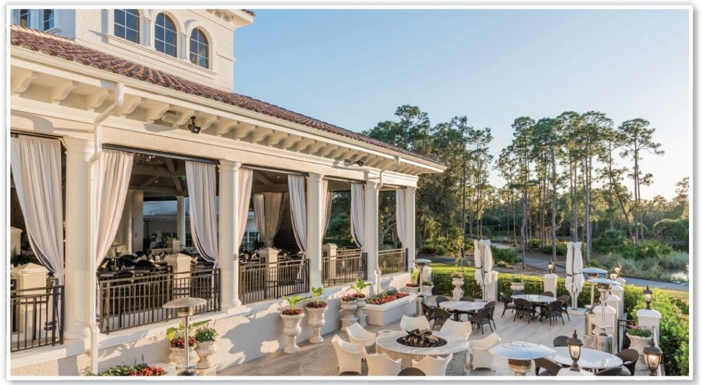 Members can mingle with new neighbors at the Club's popular, expanded cypress bar and tavern, along with a new outdoor covered bar terrace.