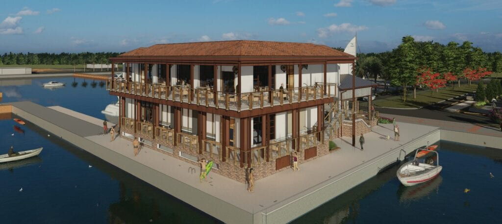 Oxbow Bar & Grill, the largest restaurant at the Luminary Hotel & Co. in Fort Myers shown in a rendering, is open and doing 500 covers a day. It's struggling to fill entry-level jobs. COURTESY PHOTO