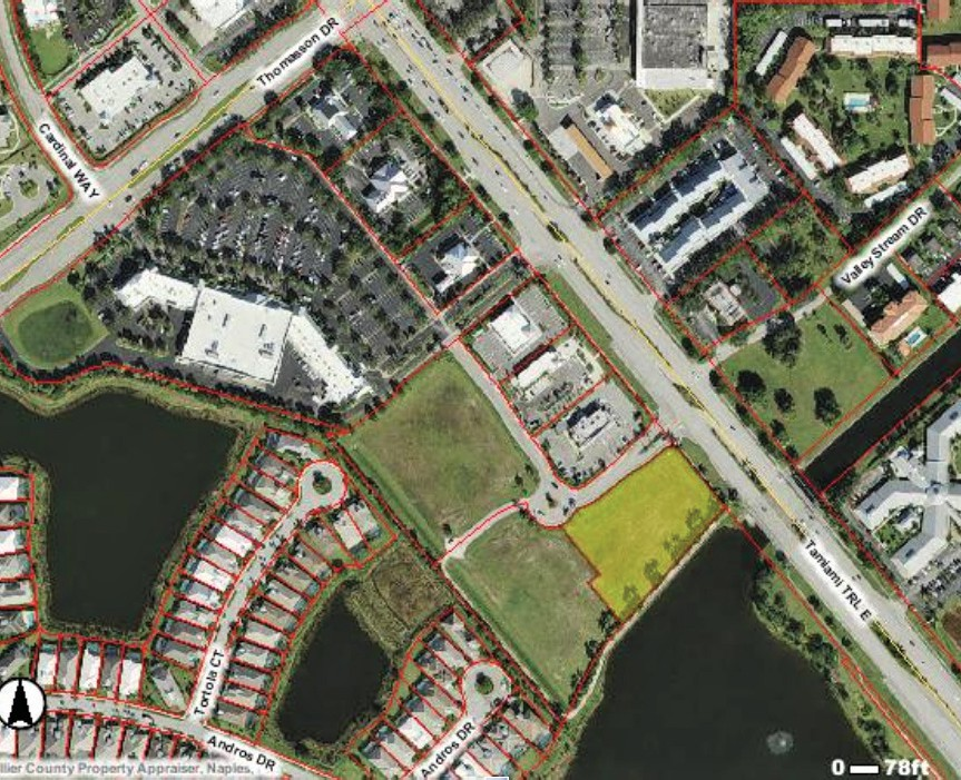 The map portion shaded yellow is the vacant commercial lot where the Lamborghini of Naples dealership is proposed on U.S. 41 East in East Naples. COLLIER COUNTY PROPERTY APPRAISER