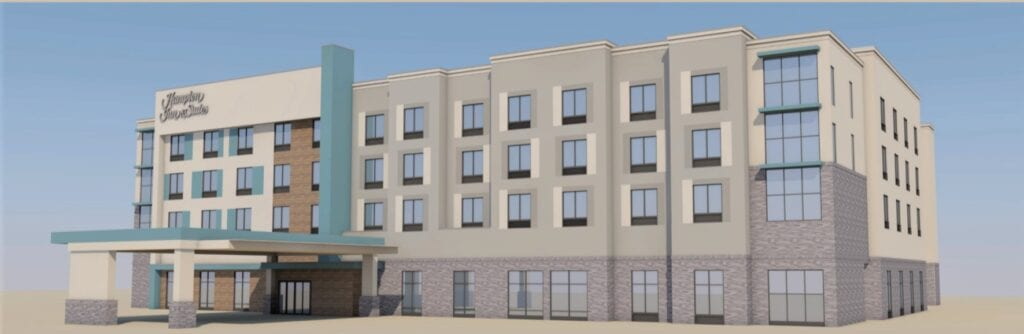 This architectural rendering shows Hampton Inn & Suites Naples South, planned in the Shops at Hamock Cove in East Naples. ISOM HAM DESIGN GROUP