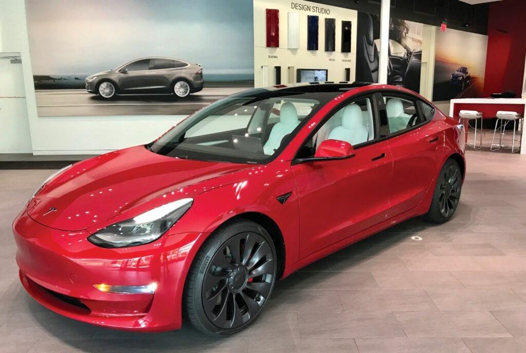 The Model 3 sedan on display in Tesla's showroom at Waterside Shops in Naples.