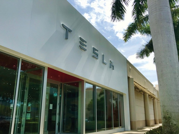 Tesla's showroom on the northern edge of Waterside Shops in Naples.