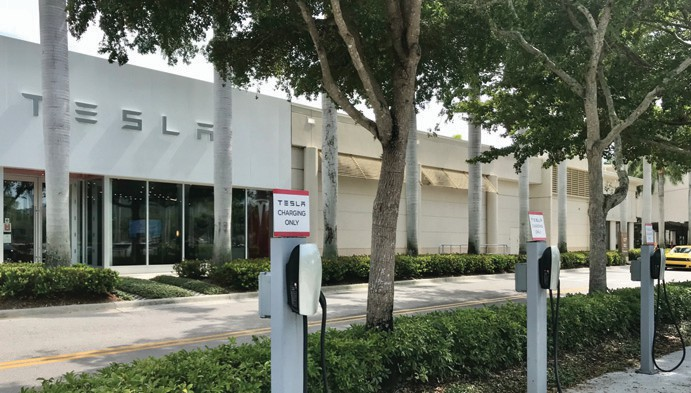 Tesla's showroom at Waterside Shops in Naples features charging stations for its electric cars.