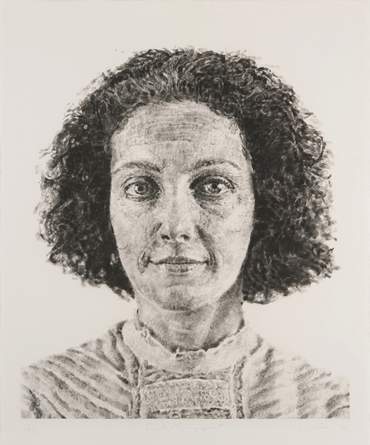 Chuck Close (American, 1940-2021). Emily/ Fingerprint, 1986. Direct gravure etching, 54 1/16 x 40 7/8 in. Collection of Patty and Jay Baker.