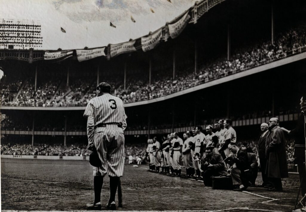 ABOVE: Nathaniel Fein (American, 1914-2000). Babe Ruth Bows Out, June 13, 1948. Jay H. Baker Collection.